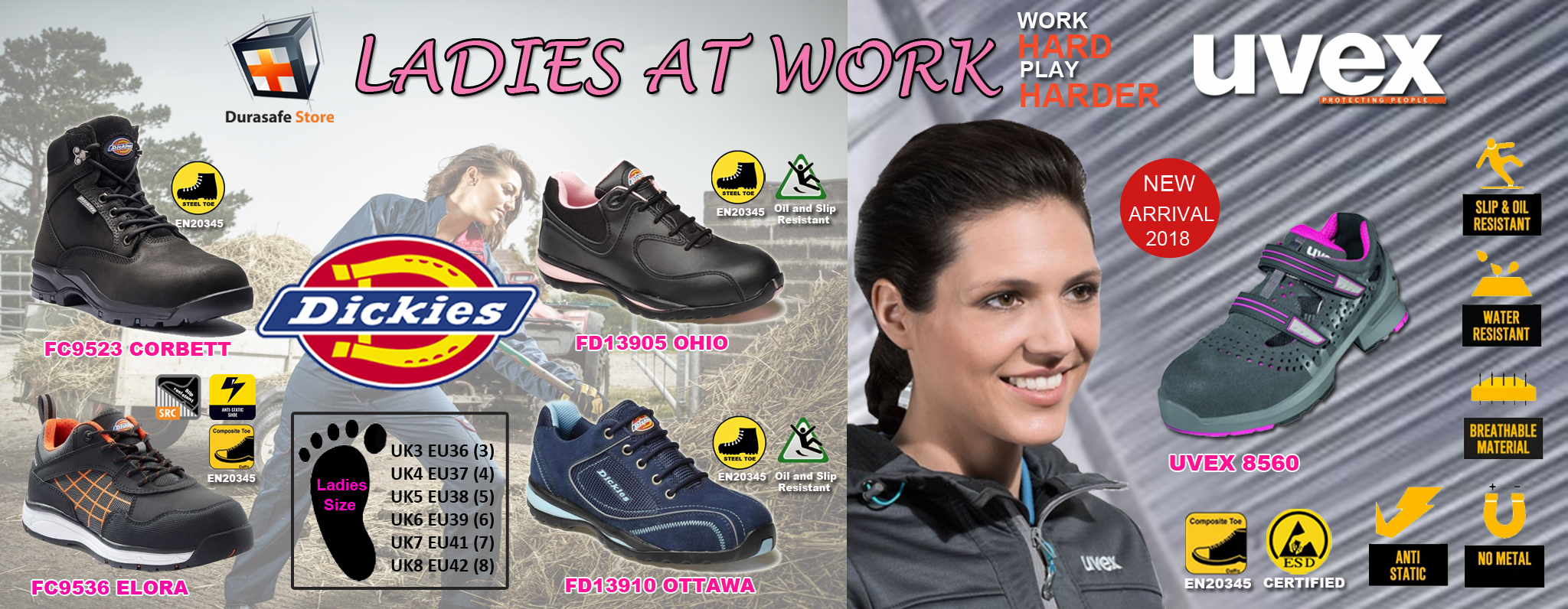 ladies safety shoe banner